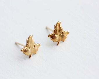 Gold Leaf Studs, Leaf Studs