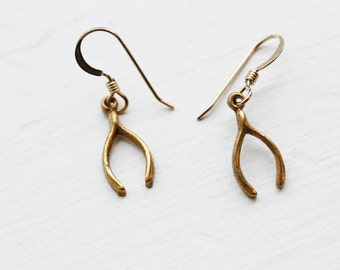 Wishbone Earrings, Earrings, Wishbone, Gold Wishbone Earrings, Gold Earrings, Charm Earrings, Lucky Earrings