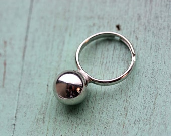 Silver Ball Ring, Silver Ring, Ball Ring, Adjustable Silver Ring, Statement Ring, Cool Ring, Modern Ring
