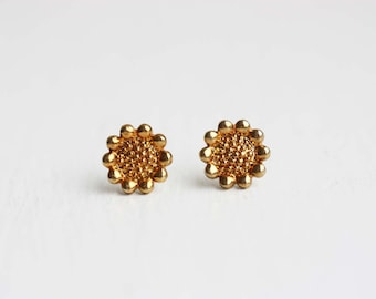 Gold Sunflower Studs, Sunflower Studs