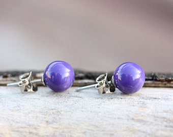 Purple Enamel Ball Studs