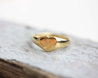 Sample Sale - Heart Initial Ring - F, K, W