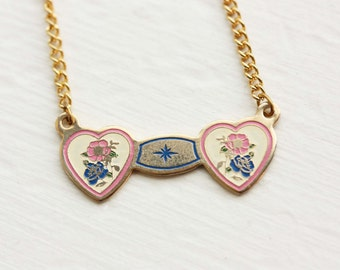 Heart Necklace - Yellow and Pink