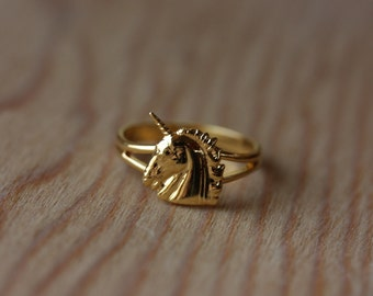 Unicorn Ring Gold, Adjustable Unicorn Ring, Small Gold Unicorn Ring, Vintage Unicorn Ring, Gold Ring, Unicorn, Adjustable Gold Ring, Ring