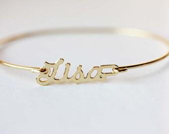 Lisa Bracelet, Lisa Name Bracelet, Gold Name Bracelet, Name Bracelet, Gold Hook Bracelet, Gold Bracelet, Name Plate Bracelet, Gold Cuff