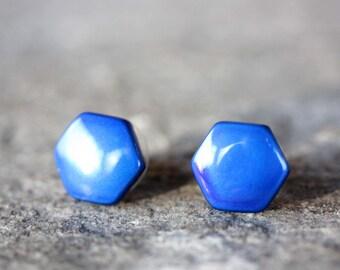 Blue Hexagon Studs