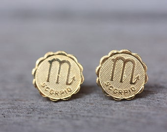 Scorpio Astrology Studs, Scorpio Earrings, Scorpio Stud Earrings, Gold Scorpio Studs, Astrology Studs, Zodiac Studs, Stud Earrings, Studs