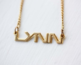 Handwriting Name Necklace Gold Name Chain Trendy Nameplate 14k