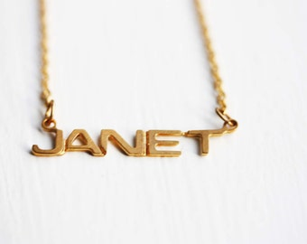 Janet Name Necklace, Janet Necklace, Janet, Name Necklace, Gold Name Necklace, Vintage Name Necklace, Name Jewelry, Name Plate Necklace