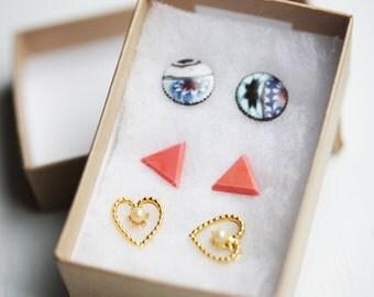 Set of 3 Stud Earrings - You Choose