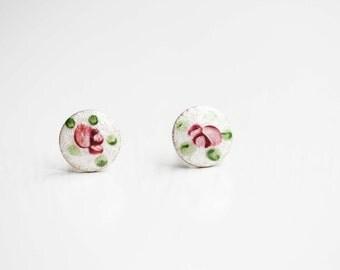Rose Studs Enamel, Pink Flower Studs, Vintage Rose Studs, Vintage Flower Studs, Bridesmaid Studs, Rose Earrings, Pink Flower Studs, Studs