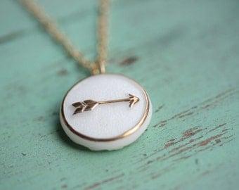 Gold Arrow Necklace, White Arrow Necklace, Cabochon Necklace, Arrow Charm Necklace, Gold Filled Arrow Necklace, Gold Fill Necklace, Arrow