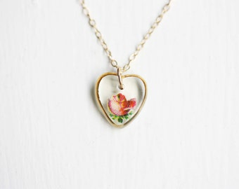 Rose Heart Necklace, Glass Heart Necklace, Rose Necklace, Heart Charm Necklace, Heart Necklace, Painted Necklace
