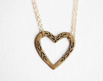 Brass Heart Necklace, Heart Necklace, Flower Heart Necklace, Gold Filled Heart Necklace, Heart Charm Necklace, Brass Necklace, Gold Heart