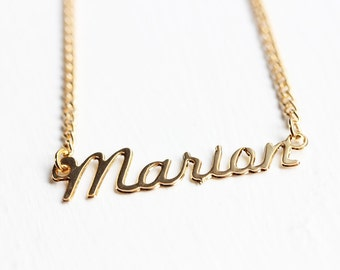 Marian Name Necklace, Marian Necklace, Cursive Name Necklace, Name Plate Necklace, Gold Name Necklace, Gold Monogram Necklace