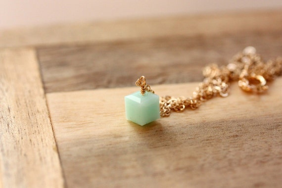 Turquoise Swarovski Square Necklace