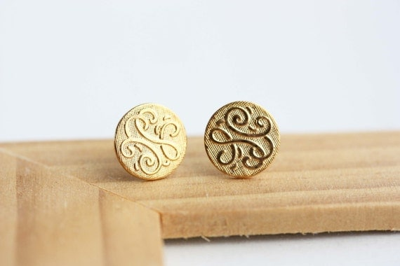 Gold Circle Studs, Monogram Circle Studs, Monogram Studs, Gold Swirl Studs, Round Gold Studs, Vintage Gold Studs, Gold Stud Earrings