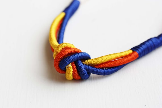 Sample Sale - Vintage Rope Necklace - Yellow Orange Blue