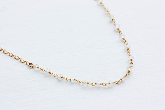 Crystal Beaded Necklace - Gold