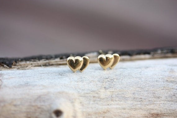 Tiny Double Heart Studs - 14K Gold Fill