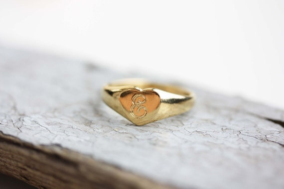 Sample Sale - Heart Initial Ring - F, K
