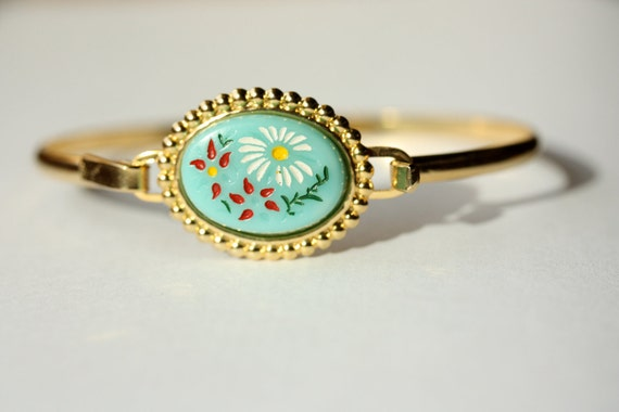 Blue Flower Oval Bracelet