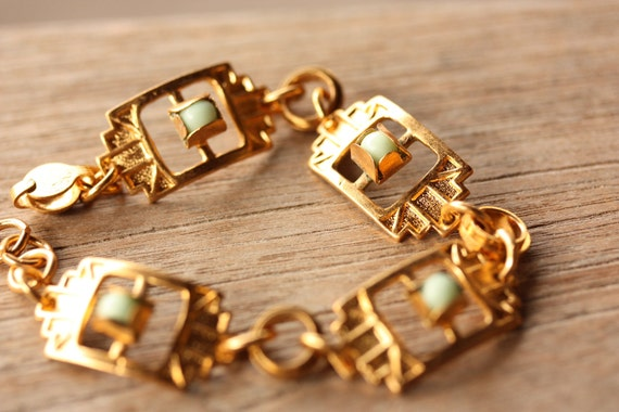 Ornate Gold and Turquoise Link Bracelet
