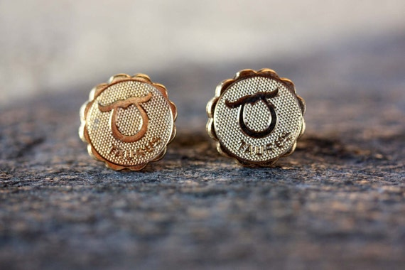 Taurus Astrology Studs, Taurus Earrings, Taurus Stud Earrings, Gold Taurus Studs, Astrology Studs, Zodiac Studs, Studs