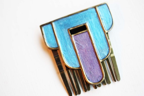 Deco Hair Comb - Blue and Purple
