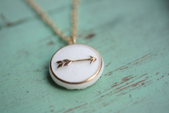 White and Gold Arrow Necklace