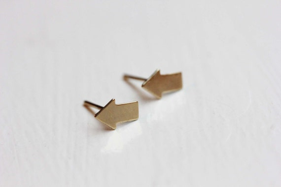 Tiny Gold Arrow Studs