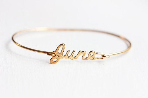 June Name Bracelet, Name Bracelet Gold, June Name Jewelry, Personalized Name Bracelet, Name Plate Jewelry Gold