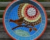 Morning Bird Song Bird Bath Stained Glass Mosaic Art