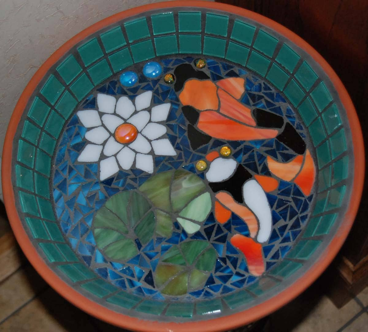 Koi pond bird bath stained glass mosaic art for Koi pool table