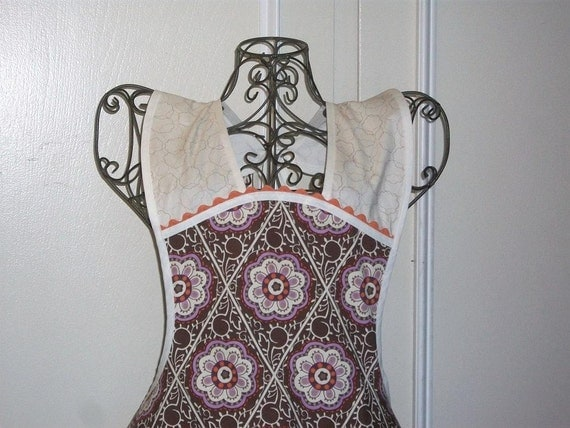 Vintage Inspired Apron - Floral in  Lilac and Brown