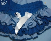 Game day Blue and Blue ginghan Sassy Fancy Ruffle Panty, Ruffle Pants, Ruffle Bloomers, Fancy Pants, Handmade Sassy Britches Photo Prop