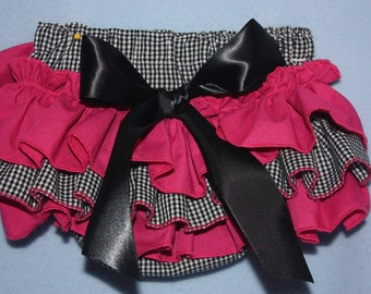 Sassy Fancy Ruffle Panty, Black and Hot pink Sassy Ruffle Pants, Ruffle Bloomers, Fancy Pants, Handmade Sassy Britches