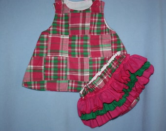 Birthday outfit Sweet Hot Pink Green Spring Plaid A-Line Dress or Top with Sassy ruffle Bloomers