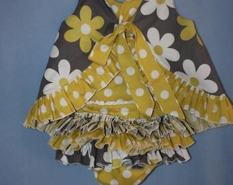 1st Birthday Citron Gray Sassy ruffle Pinafore Top and Sassy Ruffle Panty, or Long Sassy Ruffle Pants