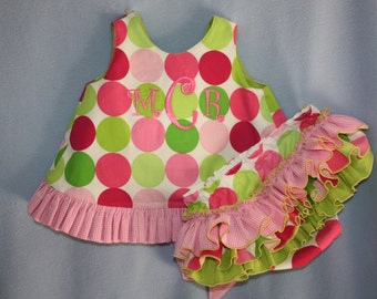 Birthdday Disco Dot Sorbet Sassy ruffle Pinafore Top and Sassy Ruffle Panty, or Long Sassy Ruffle Pants