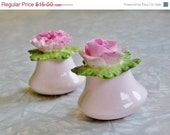 CLOSE OUT SALE Vintage Aynsley Salt and Pepper Shakers - Pink Rose and Carnation