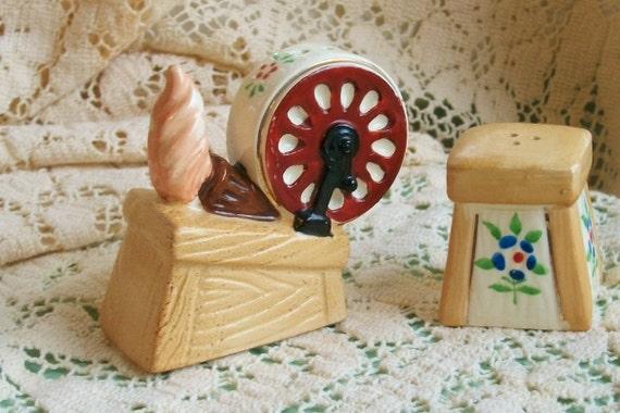 Cyber Monday Etsy - Vintage Salt and Pepper Shaker Set Spinning Wheel & Stool Made In Japan Ceramic
