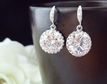 Elegant Round CZ Earrings