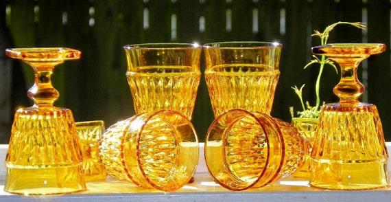 Vintage Mad Men 1960s Amber Wine Glasses Indiana Glass Company Mt Vernon Amber Set Of 6 Wine Glasses on Etsy