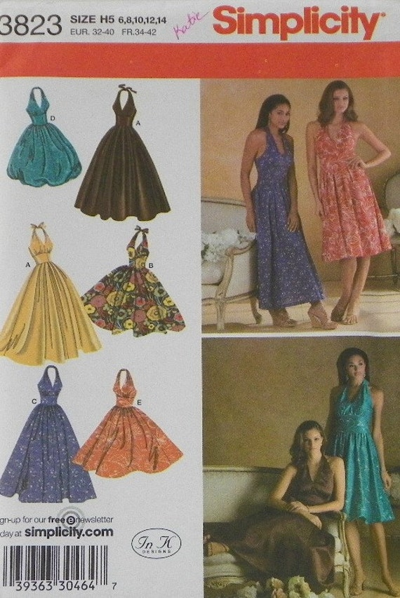 Marilyn Monroe Style Halter Dress Simplicity 3823 Uncut Length Variations Size 6 8 10 12 14 on Etsy