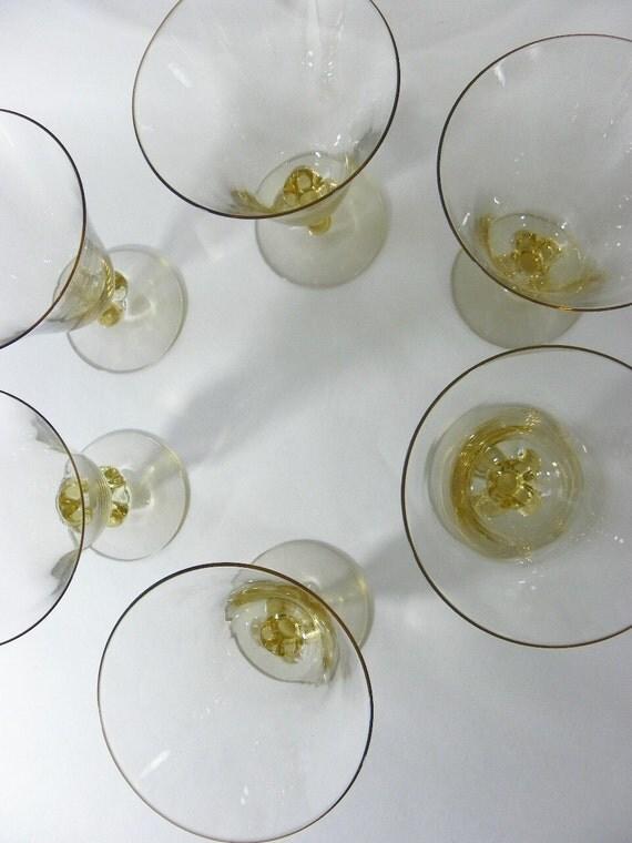 Vintage Swedish Crystal Goblet Set of 6 Gulli Gold Lobe Design Footed Stemware on Etsy