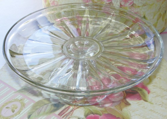 Vintage Pedestal Cake Plate Lipped Edge 8 Panel Design Clear Glass on Etsy