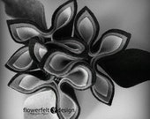 grey and black felt brooch tangerine brooch felted fashon woman wedding birthday