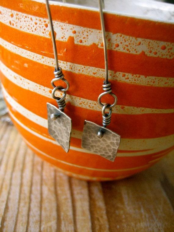 Sterling Silver Hammered Square Tab Dangle Earrings by Sierra Keylin Jewelry