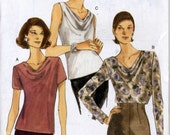 Vogue 9771 UNCUT Misses Cowl Neck Draped Blouse Sewing Pattern- Sizes 6-10 Bust 30.5-32.5